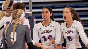 2016 FAU Volleyball vs Drake celebration tea