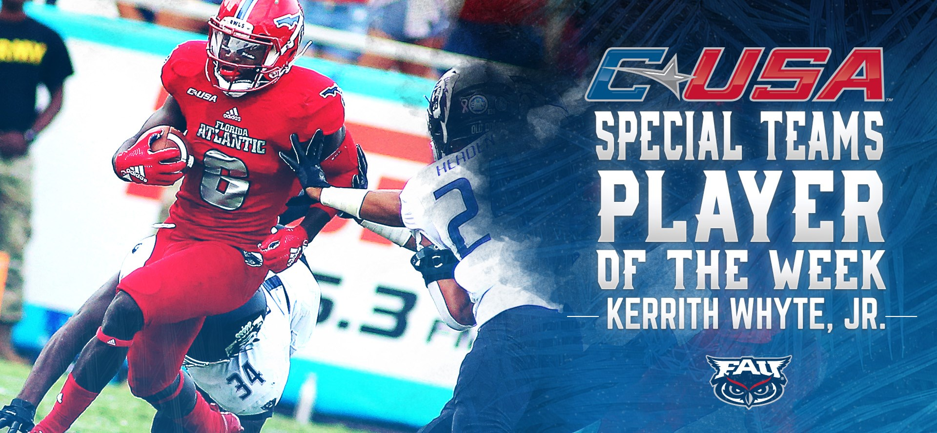 the latest 769a2 b3b1f Football's Kerrith Whyte Named C-USA Special Teams Player of ...